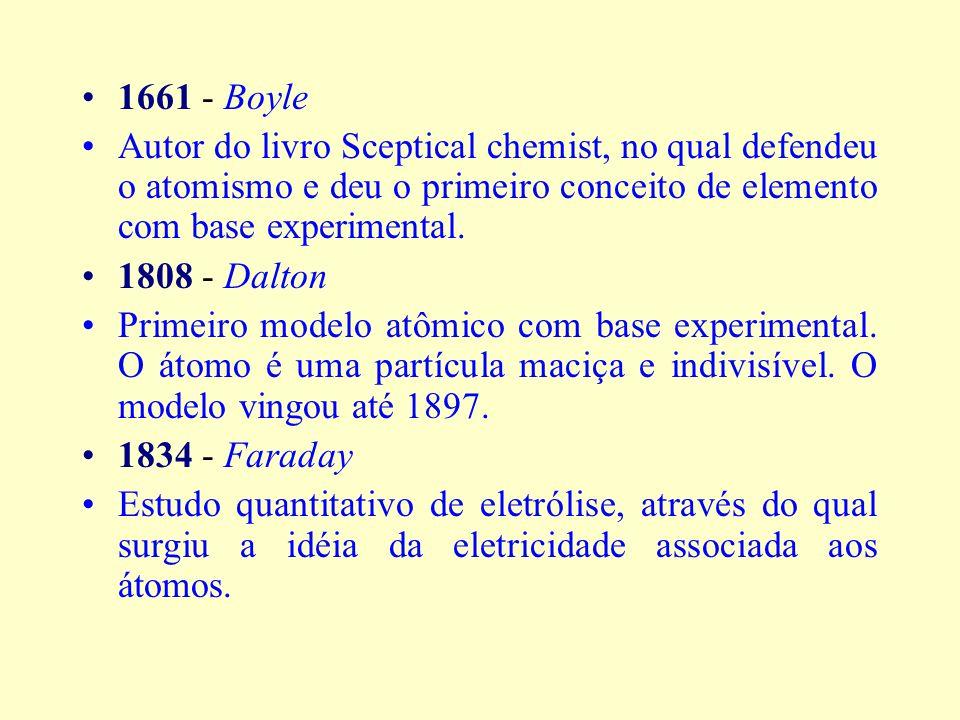 1661 - Boyle Autor do livro Sceptical chemist, no qual defendeu o atomismo e deu o primeiro conceito de elemento com base experimental.