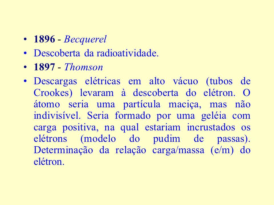 1896 - Becquerel Descoberta da radioatividade. 1897 - Thomson.