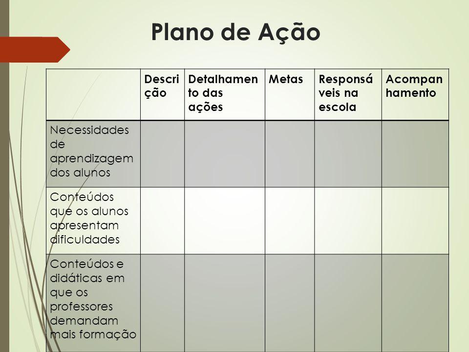 Plano de Ação Descrição Detalhamento das ações Metas