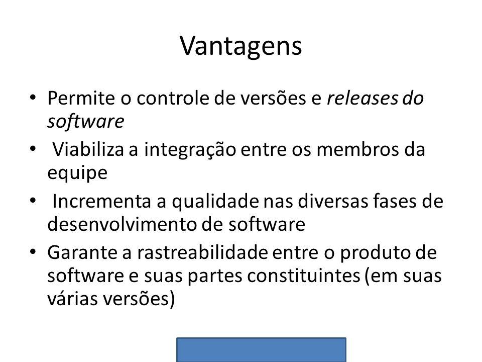 Vantagens Permite o controle de versões e releases do software