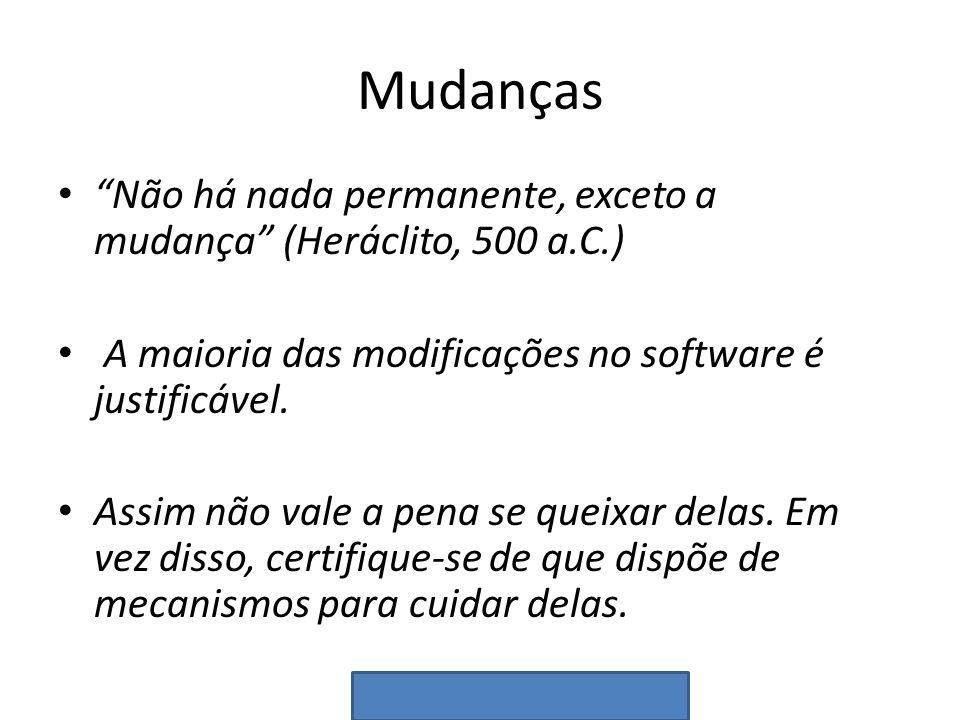 Mudanças Não há nada permanente, exceto a mudança (Heráclito, 500 a.C.) A maioria das modificações no software é justificável.