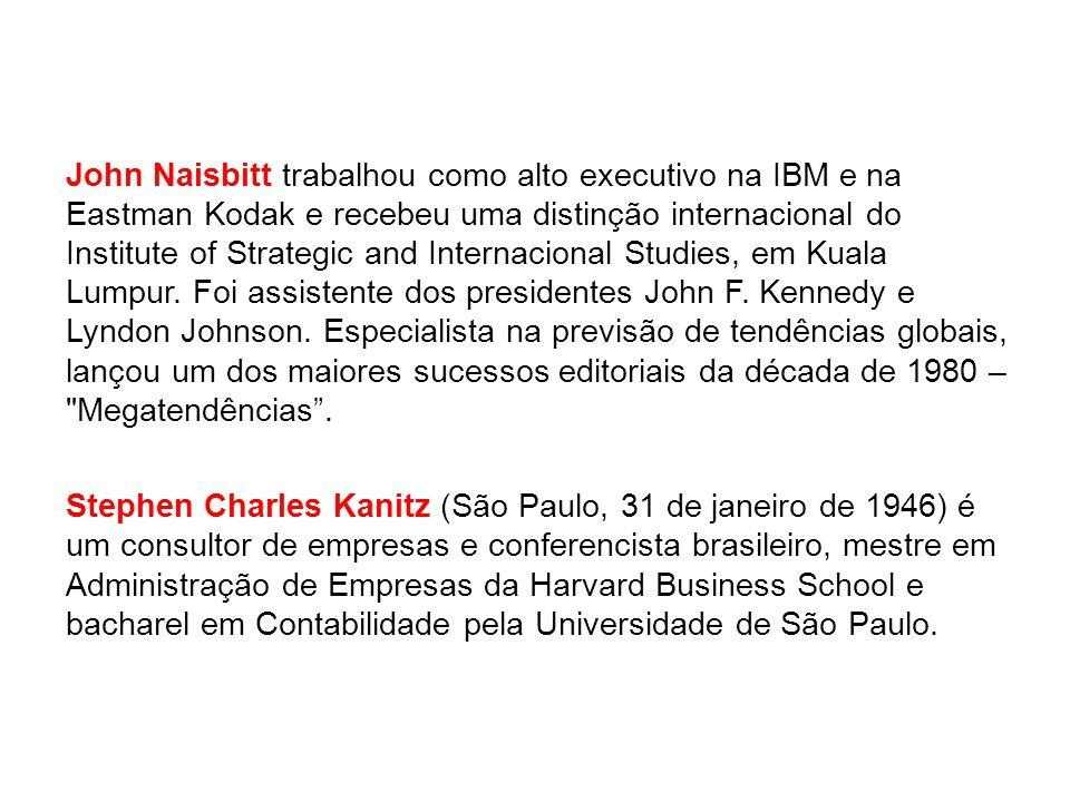 John Naisbitt trabalhou como alto executivo na IBM e na Eastman Kodak e recebeu uma distinção internacional do Institute of Strategic and Internacional Studies, em Kuala Lumpur. Foi assistente dos presidentes John F. Kennedy e Lyndon Johnson. Especialista na previsão de tendências globais, lançou um dos maiores sucessos editoriais da década de 1980 – Megatendências .