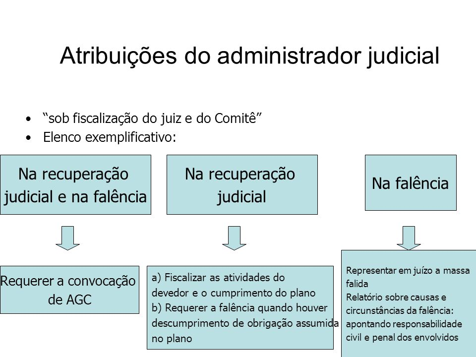 Atribuições do administrador judicial