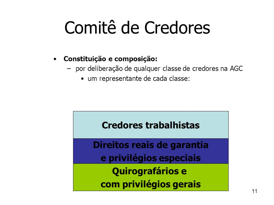 Comitê de Credores Credores trabalhistas Direitos reais de garantia