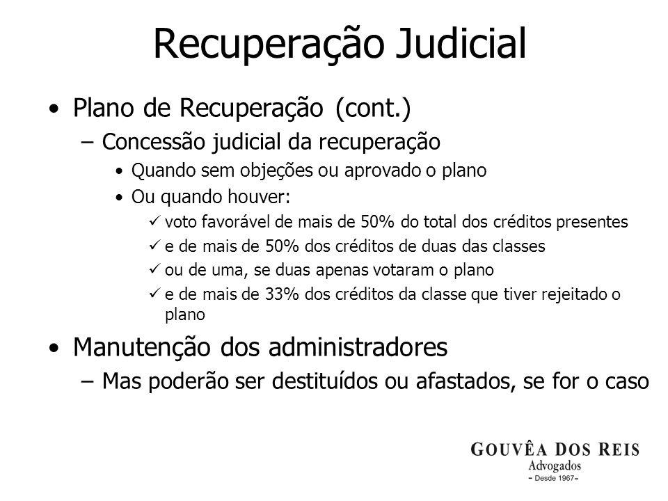 Recuperação Judicial Plano de Recuperação (cont.)