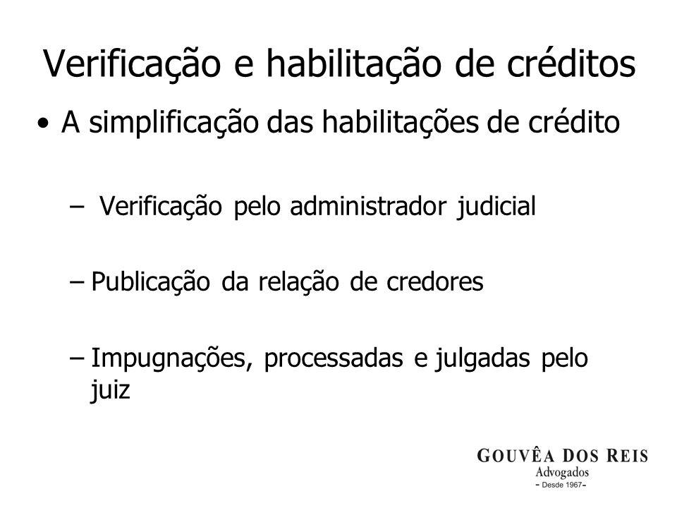 Verificação e habilitação de créditos