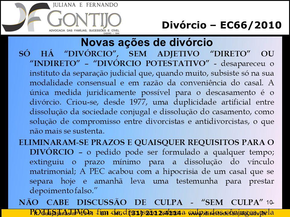 Novas ações de divórcio