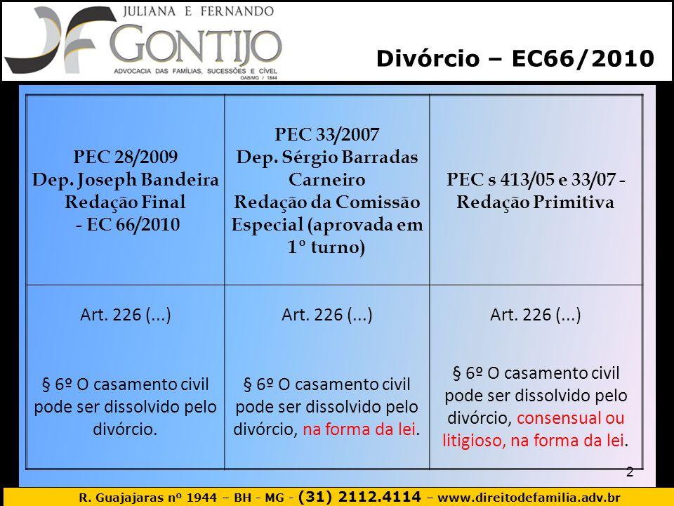 Divórcio – EC66/2010 PEC 28/2009 Dep. Joseph Bandeira Redação Final