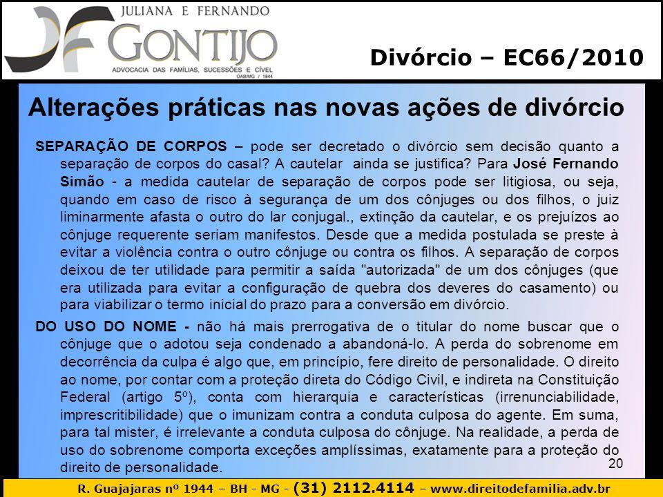 Alterações práticas nas novas ações de divórcio