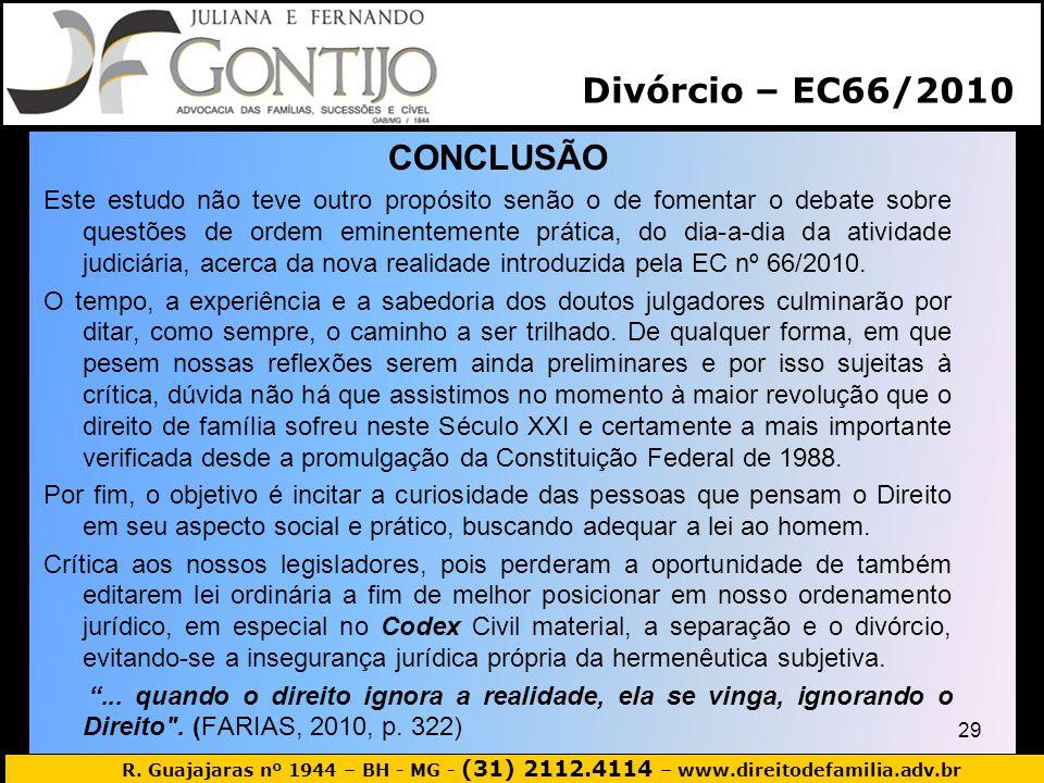 Divórcio – EC66/2010 CONCLUSÃO