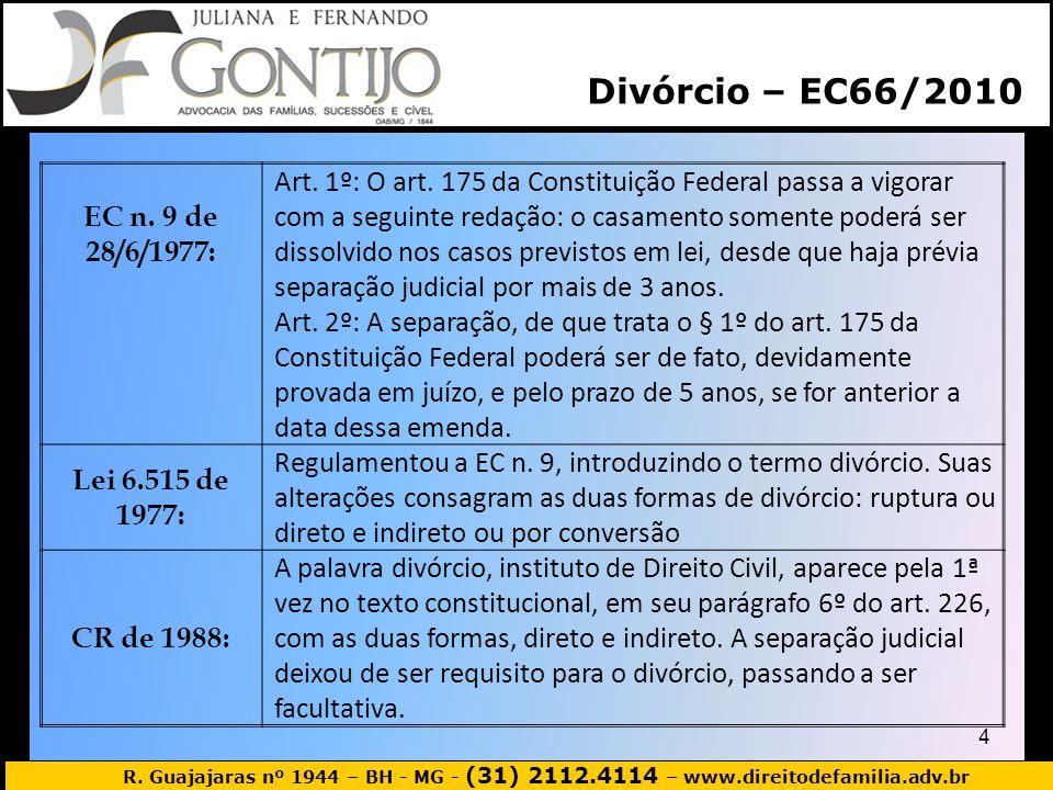Divórcio – EC66/2010 EC n. 9 de 28/6/1977: