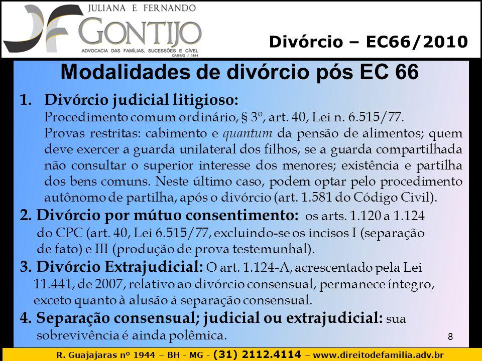Modalidades de divórcio pós EC 66