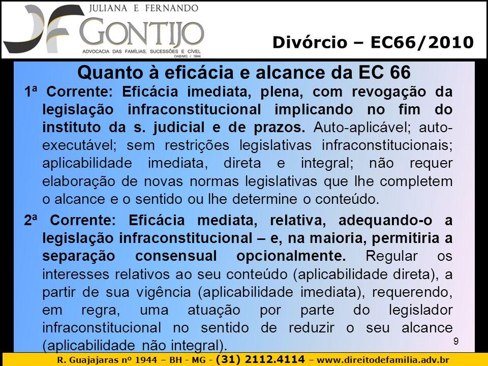 Quanto à eficácia e alcance da EC 66