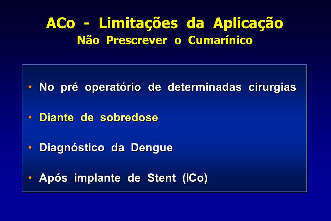 ACo - Limitações da Aplicação Não Prescrever o Cumarínico