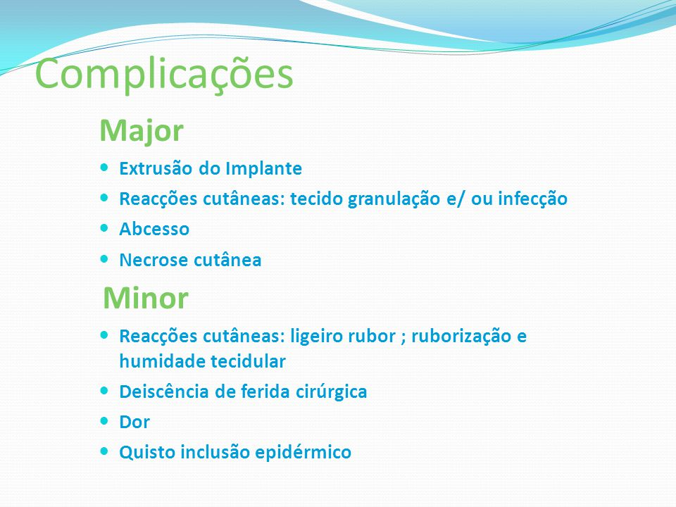 Complicações Major Minor Extrusão do Implante