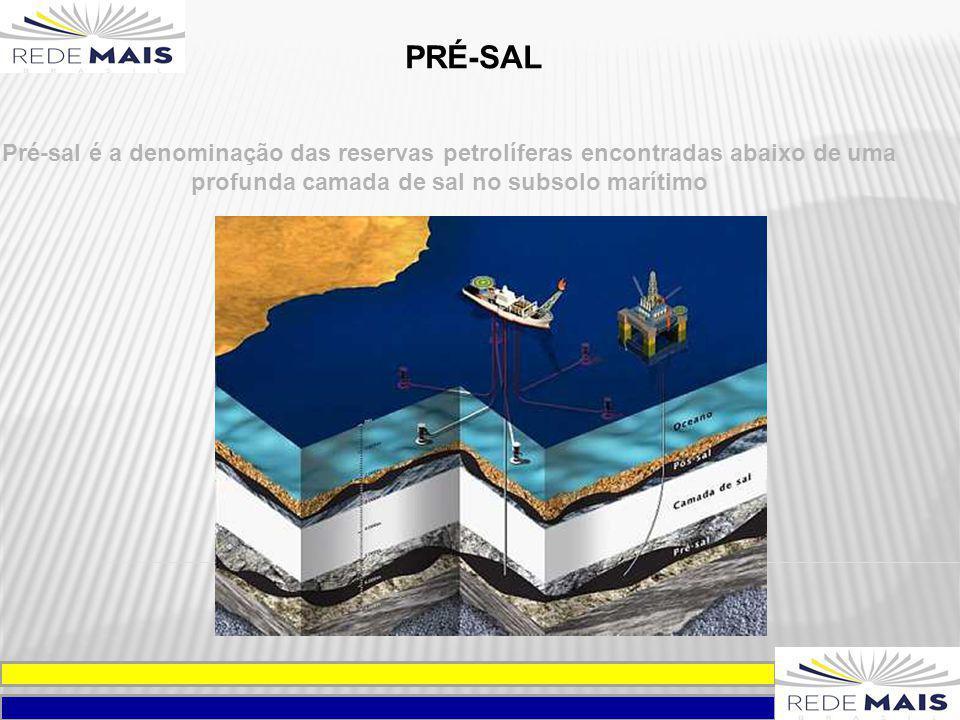 PRÉ-SAL Pré-sal é a denominação das reservas petrolíferas encontradas abaixo de uma profunda camada de sal no subsolo marítimo.