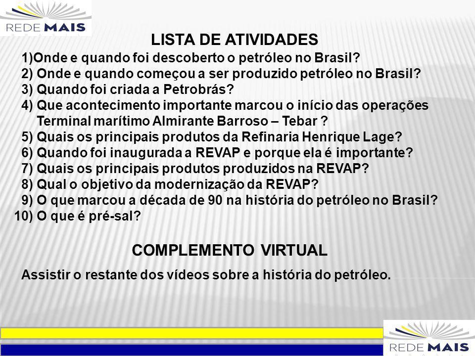 LISTA DE ATIVIDADES COMPLEMENTO VIRTUAL