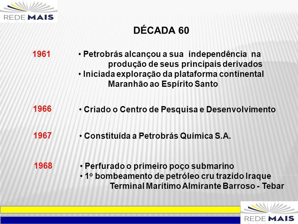 DÉCADA 60 1961 Petrobrás alcançou a sua independência na