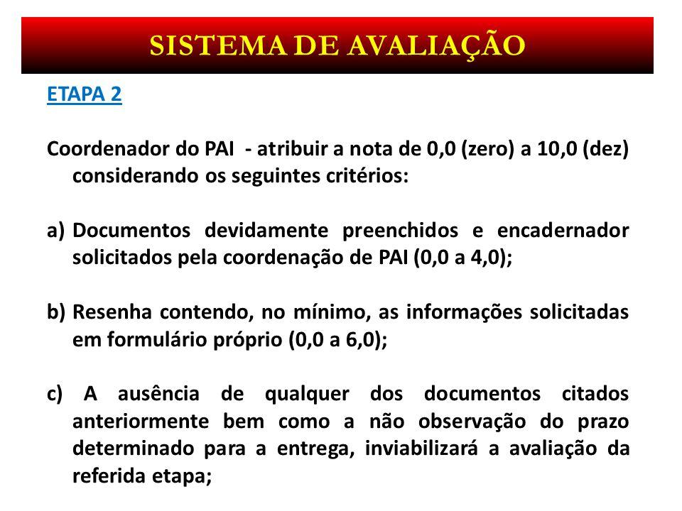 Sistema de avaliação ETAPA 2