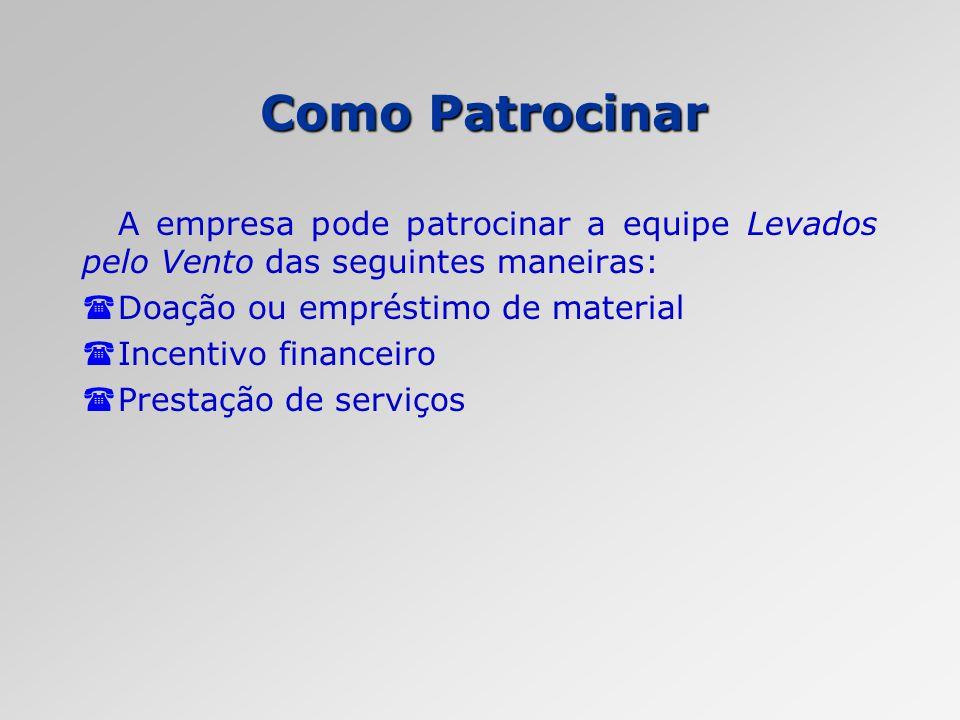 Como Patrocinar A empresa pode patrocinar a equipe Levados pelo Vento das seguintes maneiras: Doação ou empréstimo de material.