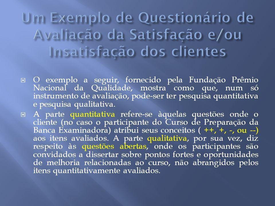 Um Exemplo de Questionário de Avaliação da Satisfação e/ou Insatisfação dos clientes