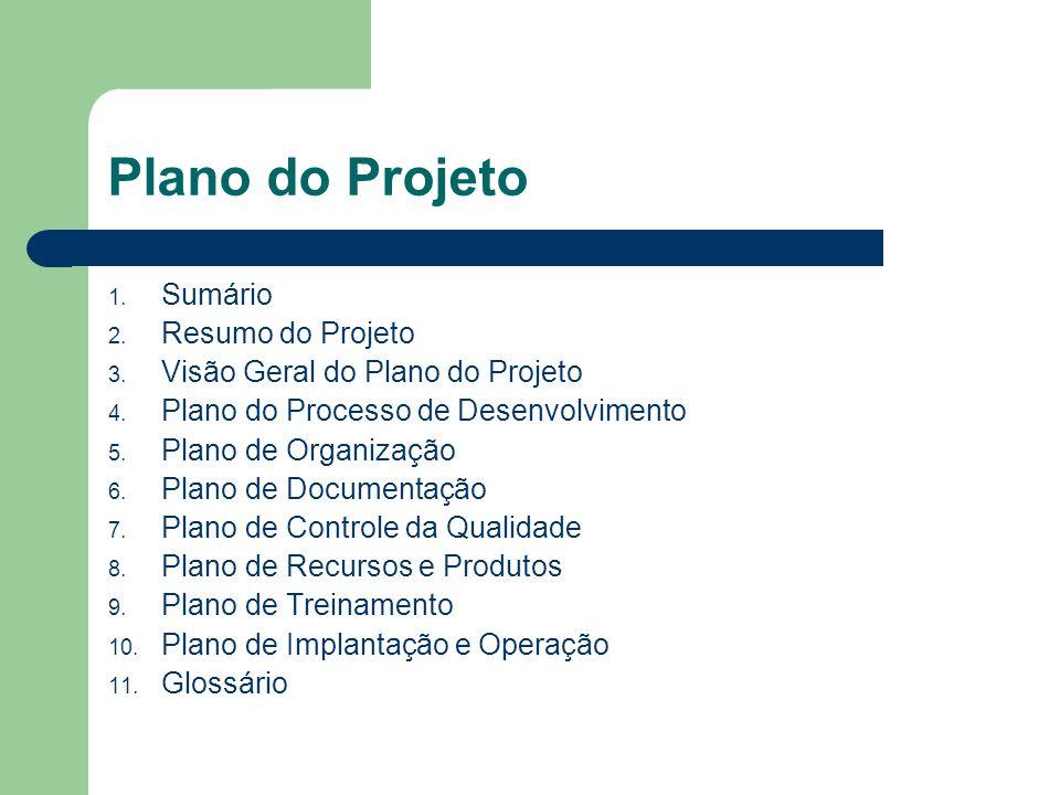 Plano do Projeto Sumário Resumo do Projeto