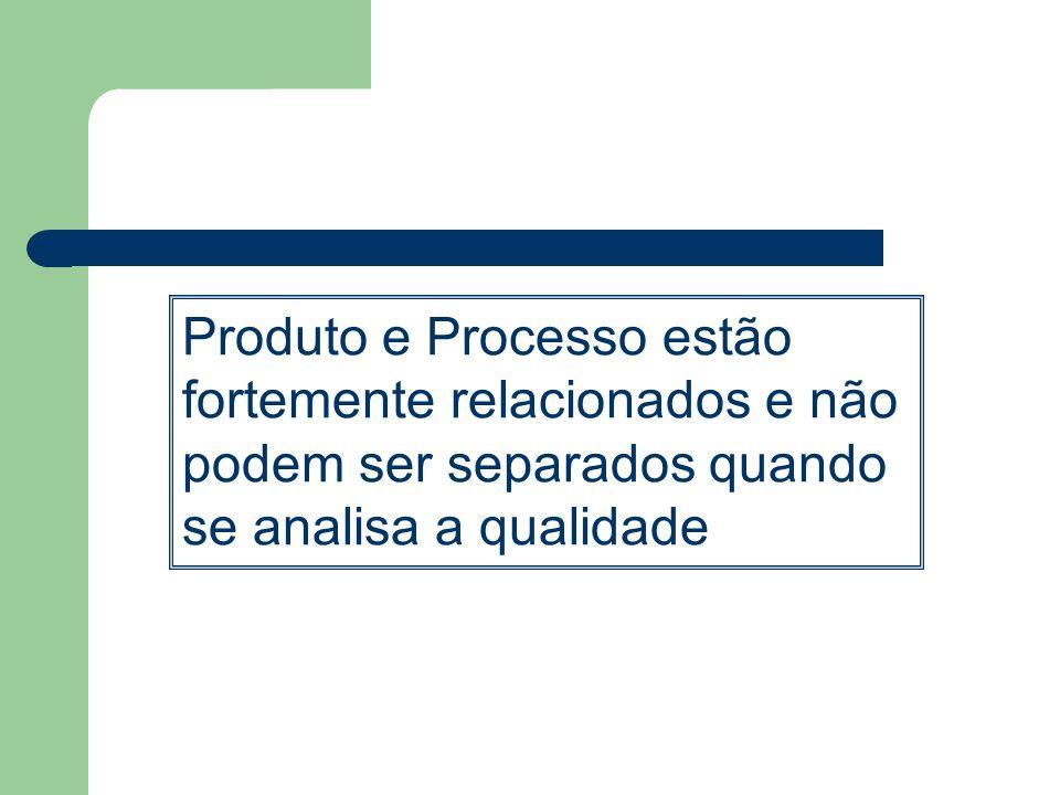 Produto e Processo estão fortemente relacionados e não podem ser separados quando se analisa a qualidade