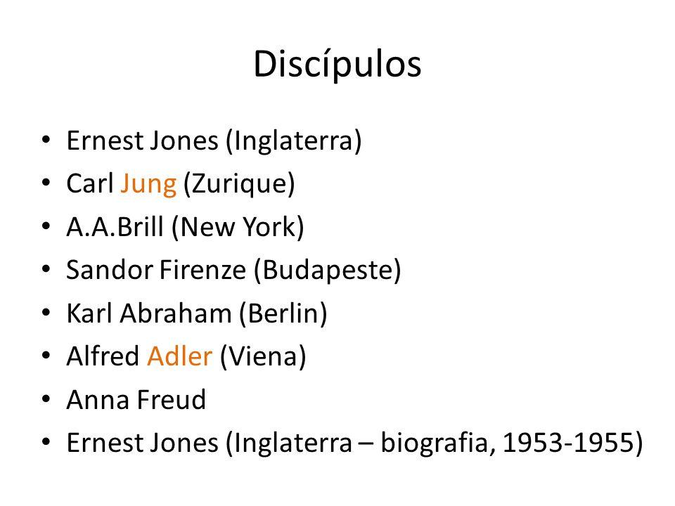 Discípulos Ernest Jones (Inglaterra) Carl Jung (Zurique)