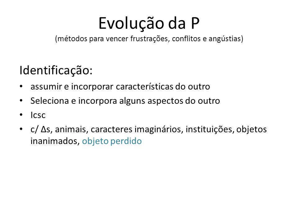 Evolução da P (métodos para vencer frustrações, conflitos e angústias)