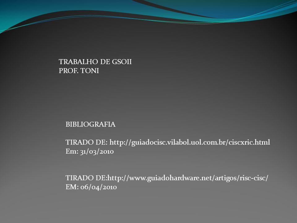 TRABALHO DE GSOII PROF. TONI. BIBLIOGRAFIA. TIRADO DE: http://guiadocisc.vilabol.uol.com.br/ciscxric.html.
