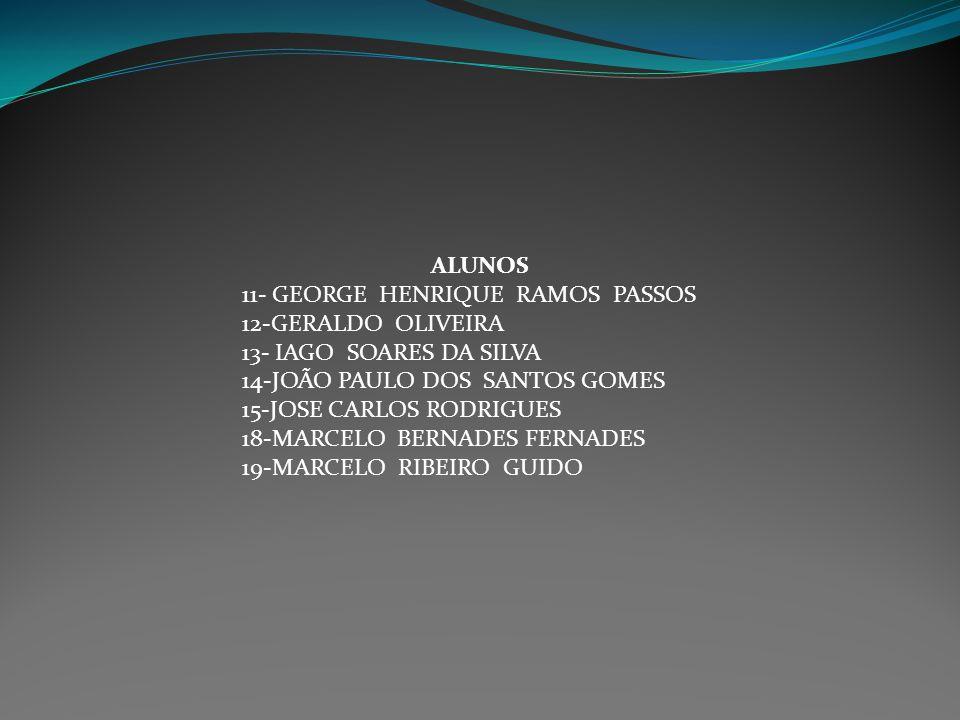 ALUNOS 11- GEORGE HENRIQUE RAMOS PASSOS. 12-GERALDO OLIVEIRA. 13- IAGO SOARES DA SILVA. 14-JOÃO PAULO DOS SANTOS GOMES.