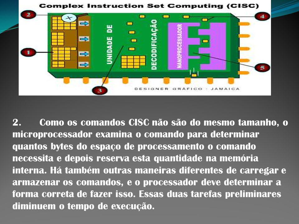 2. Como os comandos CISC não são do mesmo tamanho, o microprocessador examina o comando para determinar quantos bytes do espaço de processamento o comando necessita e depois reserva esta quantidade na memória interna.