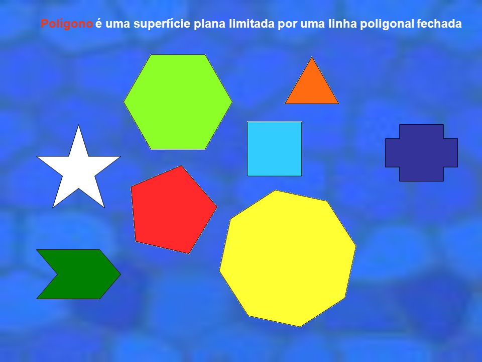 Polígono é uma superfície plana limitada por uma linha poligonal fechada