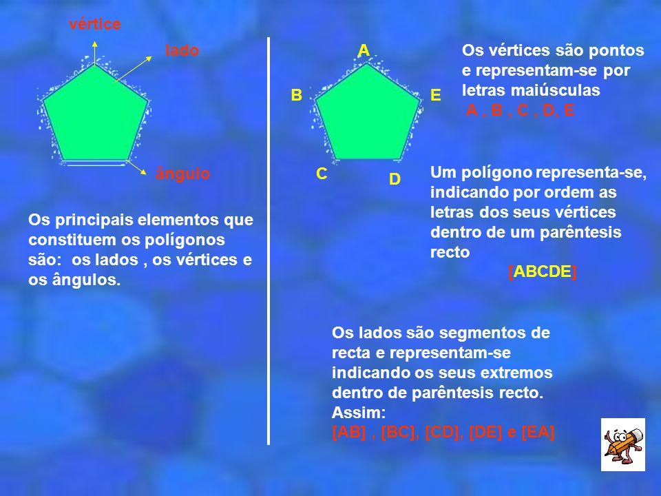 vértice lado. A. B. C. D. E. Os vértices são pontos e representam-se por letras maiúsculas. A , B , C , D, E.