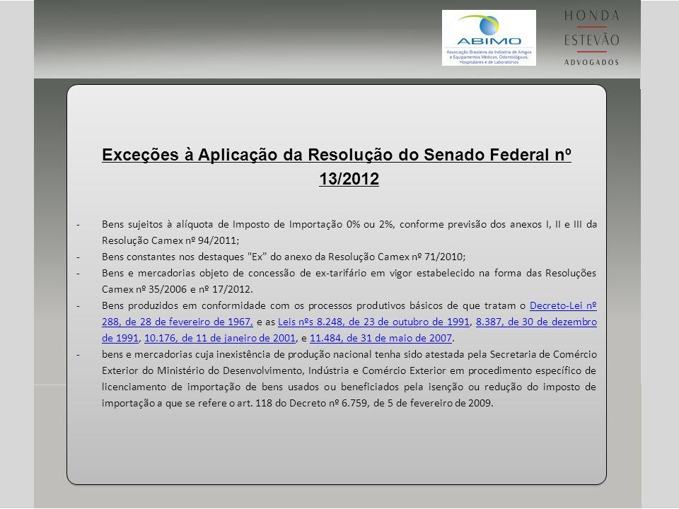 Exceções à Aplicação da Resolução do Senado Federal nº 13/2012