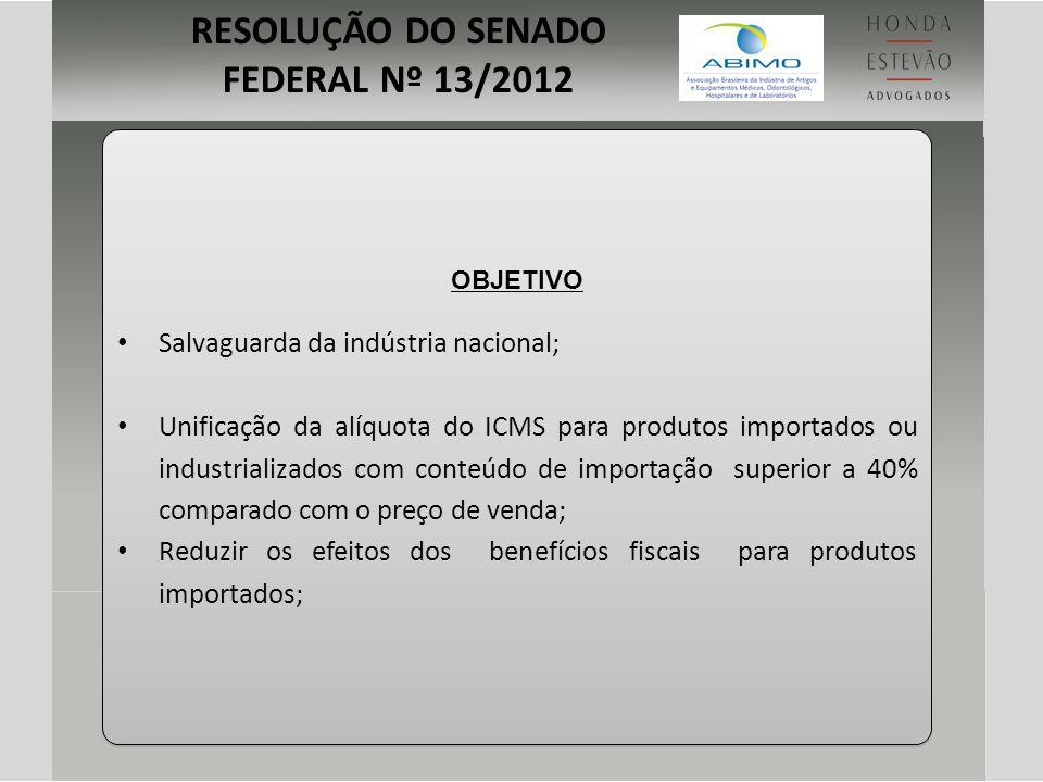 RESOLUÇÃO DO SENADO FEDERAL Nº 13/2012
