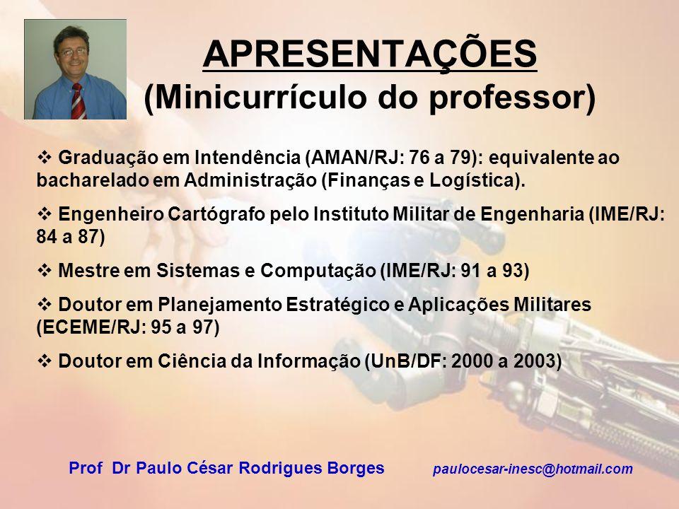 APRESENTAÇÕES (Minicurrículo do professor)
