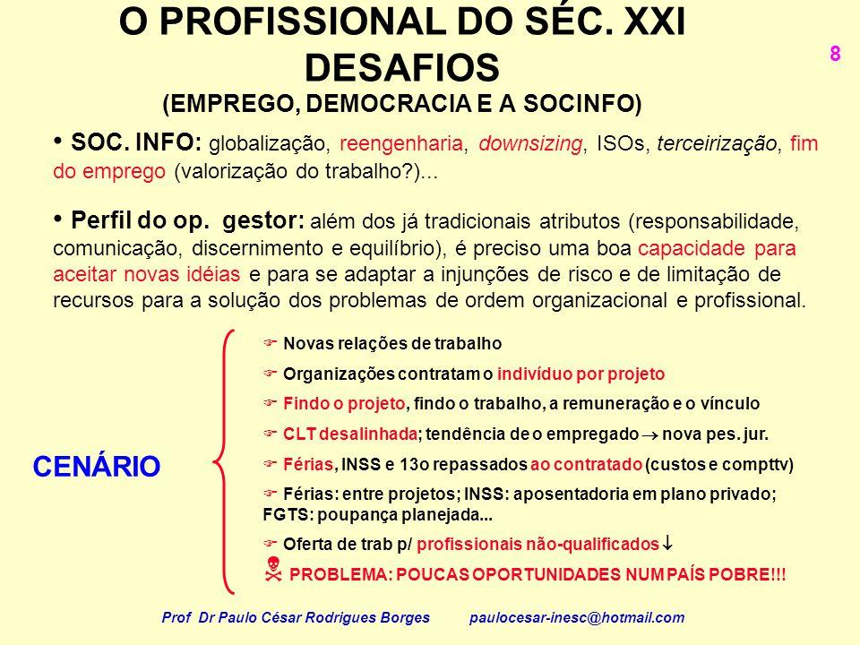 O PROFISSIONAL DO SÉC. XXI DESAFIOS (EMPREGO, DEMOCRACIA E A SOCINFO)