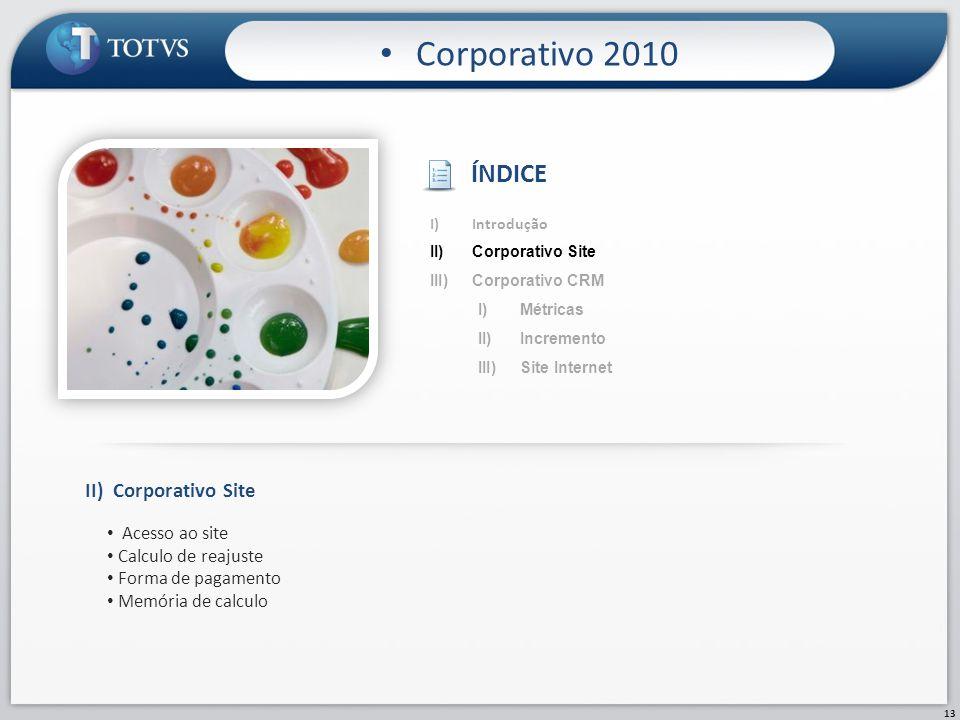 Corporativo 2010 ÍNDICE II) Corporativo Site Acesso ao site
