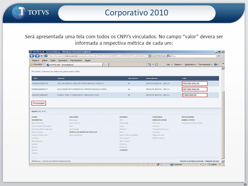 Corporativo 2010 Será apresentada uma tela com todos os CNPJ's vinculados.