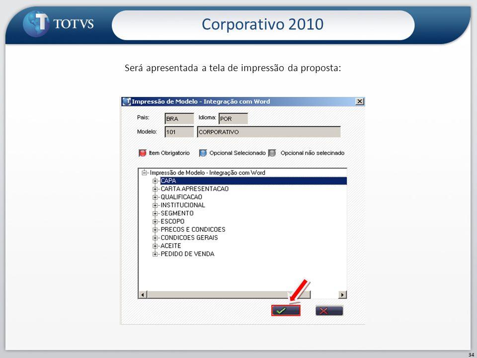 Será apresentada a tela de impressão da proposta: