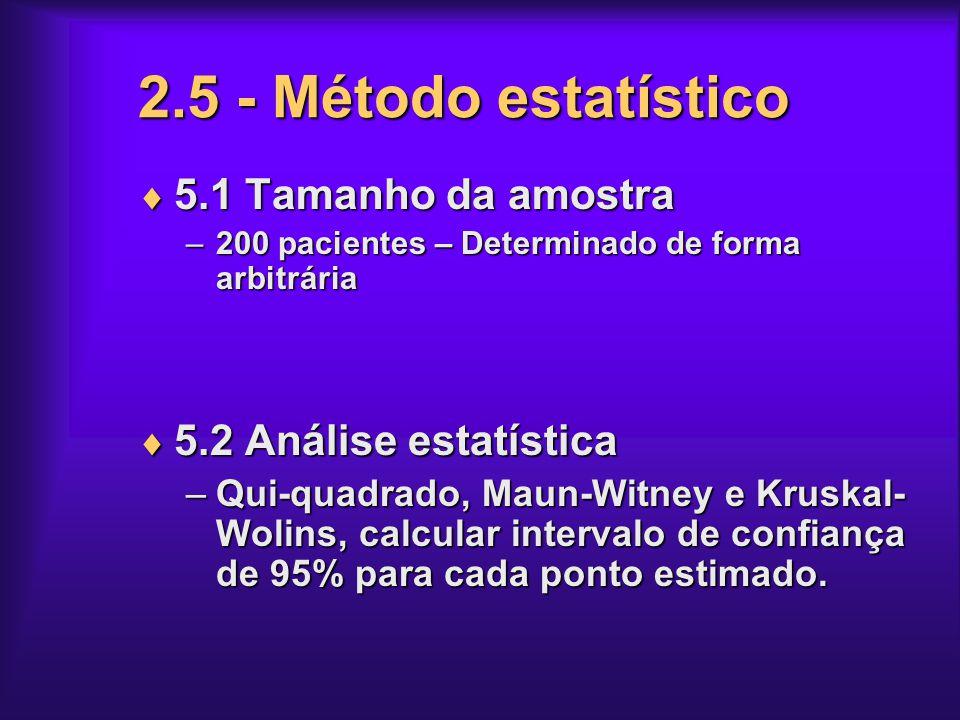 2.5 - Método estatístico 5.1 Tamanho da amostra