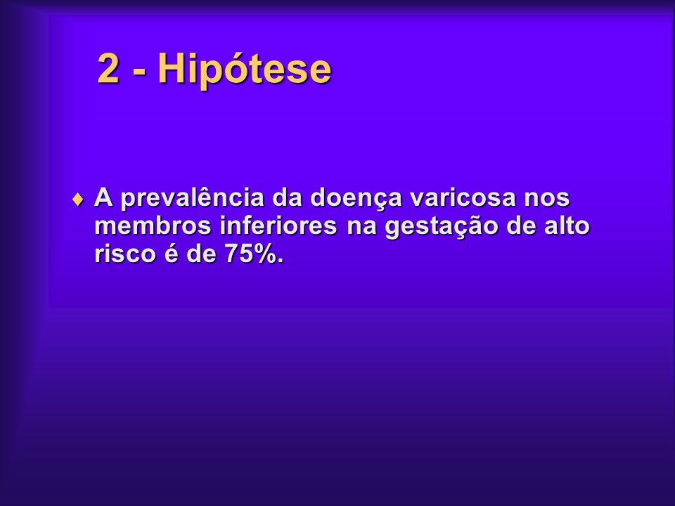 2 - Hipótese A prevalência da doença varicosa nos membros inferiores na gestação de alto risco é de 75%.