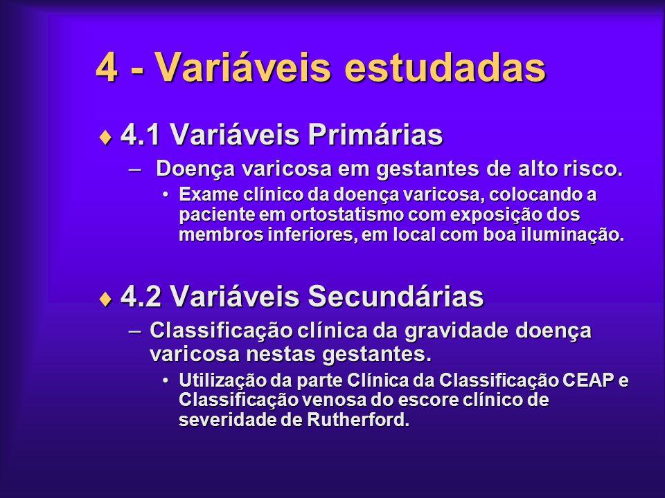 4 - Variáveis estudadas 4.1 Variáveis Primárias