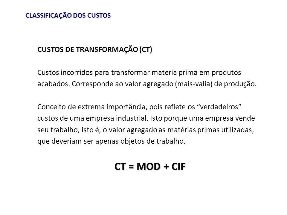 CT = MOD + CIF CUSTOS DE TRANSFORMAÇÃO (CT)