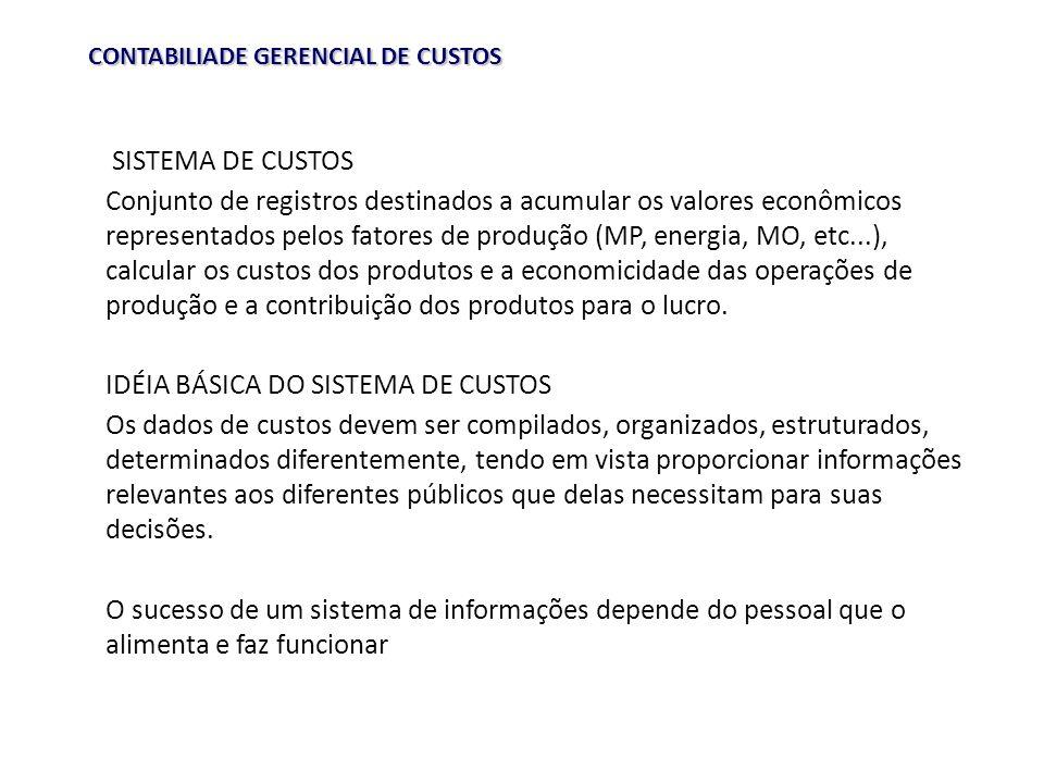 IDÉIA BÁSICA DO SISTEMA DE CUSTOS