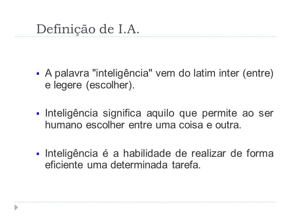 Definição de I.A. A palavra inteligência vem do latim inter (entre) e legere (escolher).