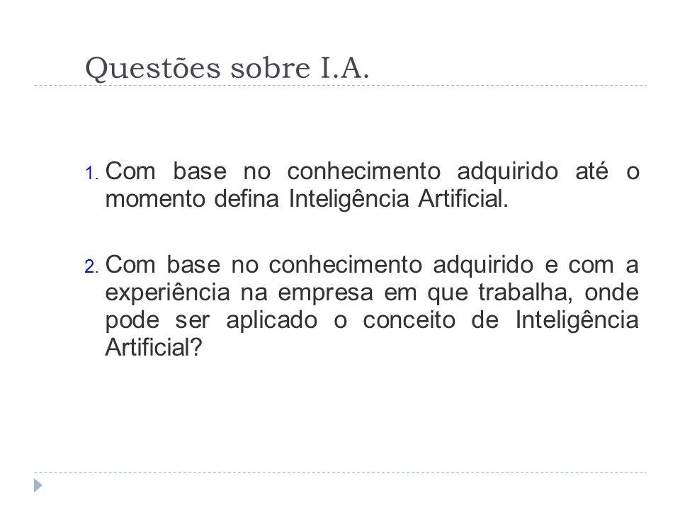 Questões sobre I.A. Com base no conhecimento adquirido até o momento defina Inteligência Artificial.