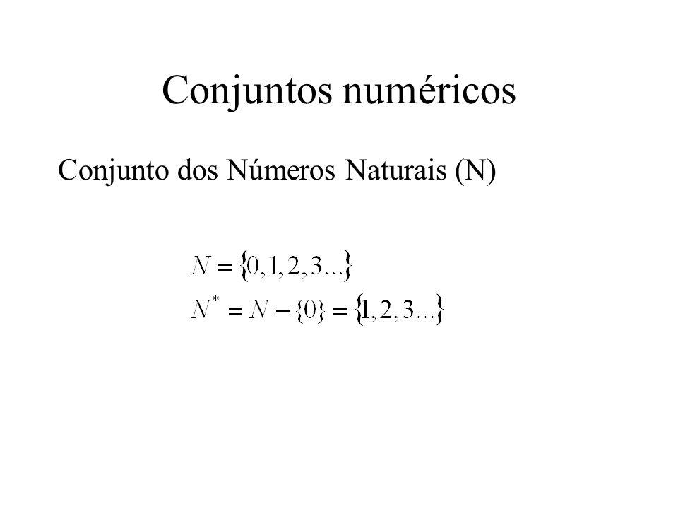 Conjuntos numéricos Conjunto dos Números Naturais (N)