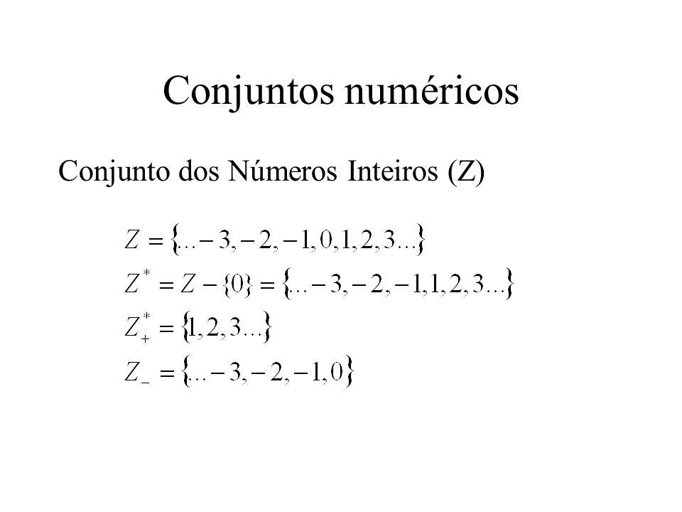 Conjuntos numéricos Conjunto dos Números Inteiros (Z)